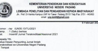 LP2M UNP Berikan Insentif bagi Jurnal Terakreditasi Nasional 2021